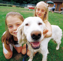 girls-with-dog