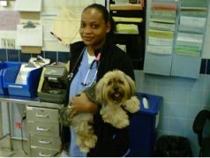 Trish and a canine patient.